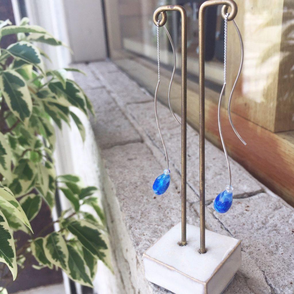 ホタルガラス ピアス アメリカンピアス ウェーブピアス 沖縄 シルバー
