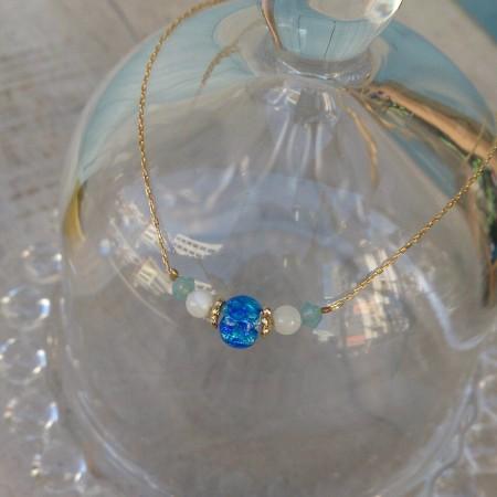 ホワイトホタルガラス ホタルガラス ブレスレット 沖縄