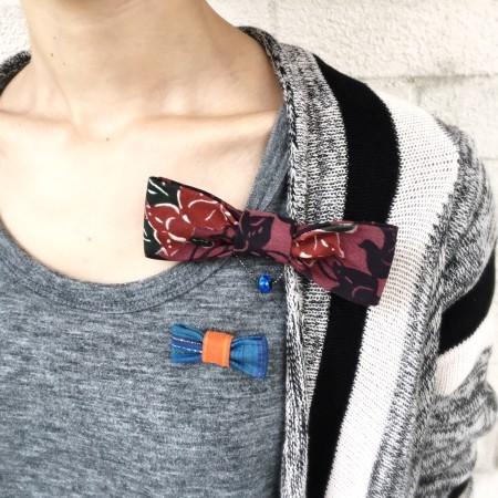蝶ネクタイ HABERU 沖縄お土産 紅型ネクタイ ピンブローチ うらそえ織 うらそえ織ピンブローチ ハンドメイド