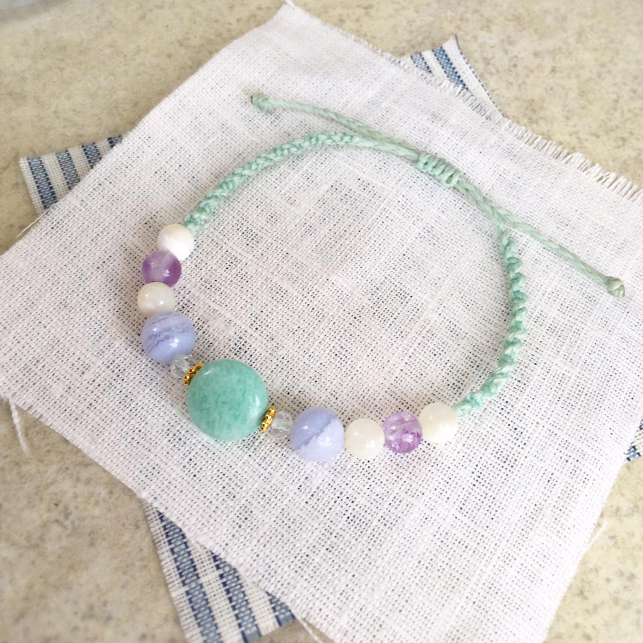 天然石ブレスレット 天然石 マクラメ編み ブレスレット