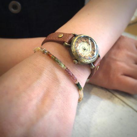 ブレスレット トルマリン マルチトルマリン 腕時計 カット加工ブレス 10月 天然石
