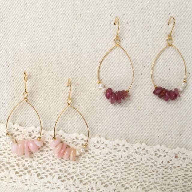 ピンクオパール ピンクトルマリン パール ピアス 小ぶりピアス 天然石