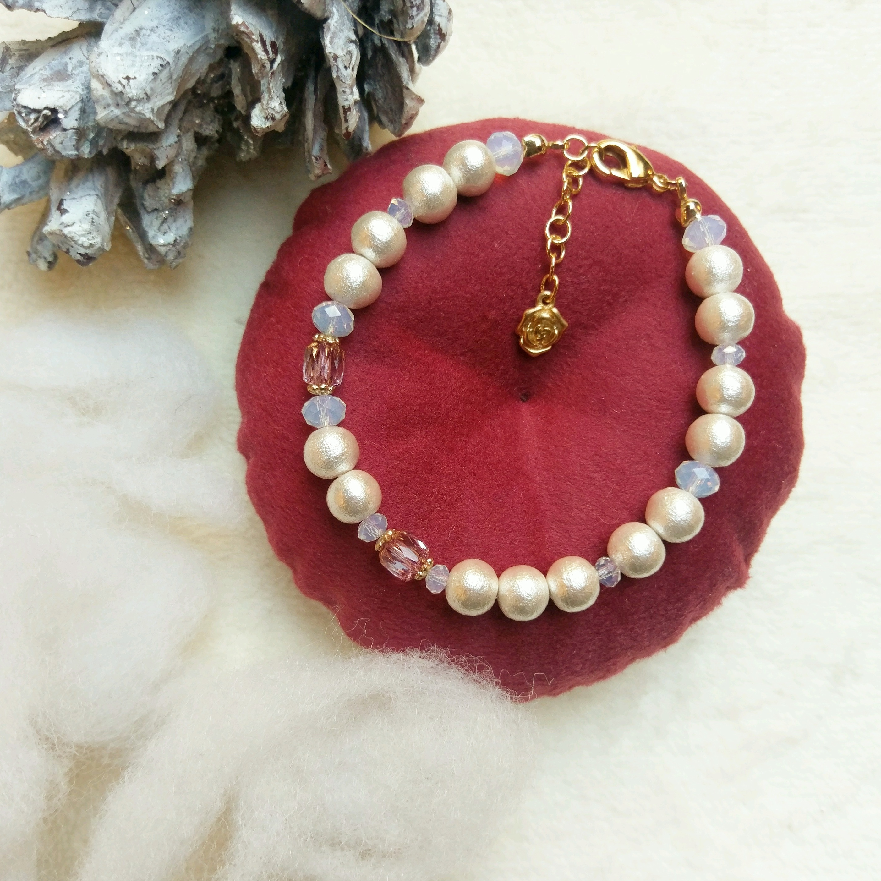 コットンパール ブレスレット ホワイト ピンク ガラス