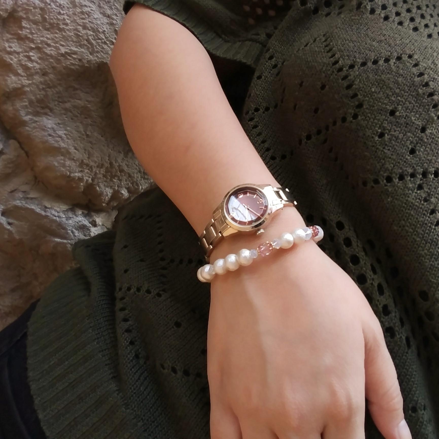 コットンパール ブレスレット ホワイト ピンク ガラス 時計