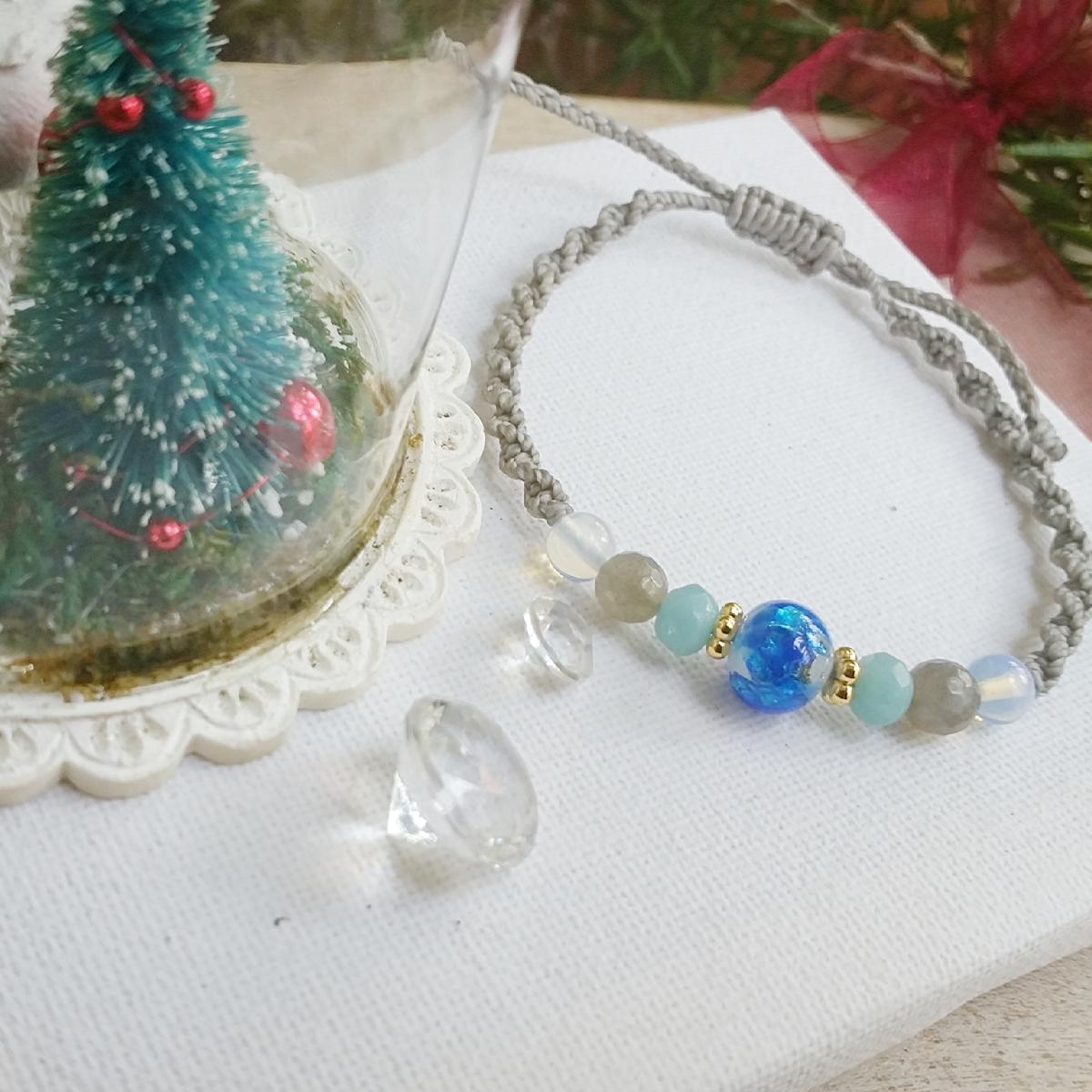 ハンドメイド マクラメ編み ブレスレット ラブラドライト アマゾナイト ガラスオパール クリスマス ワックスコード