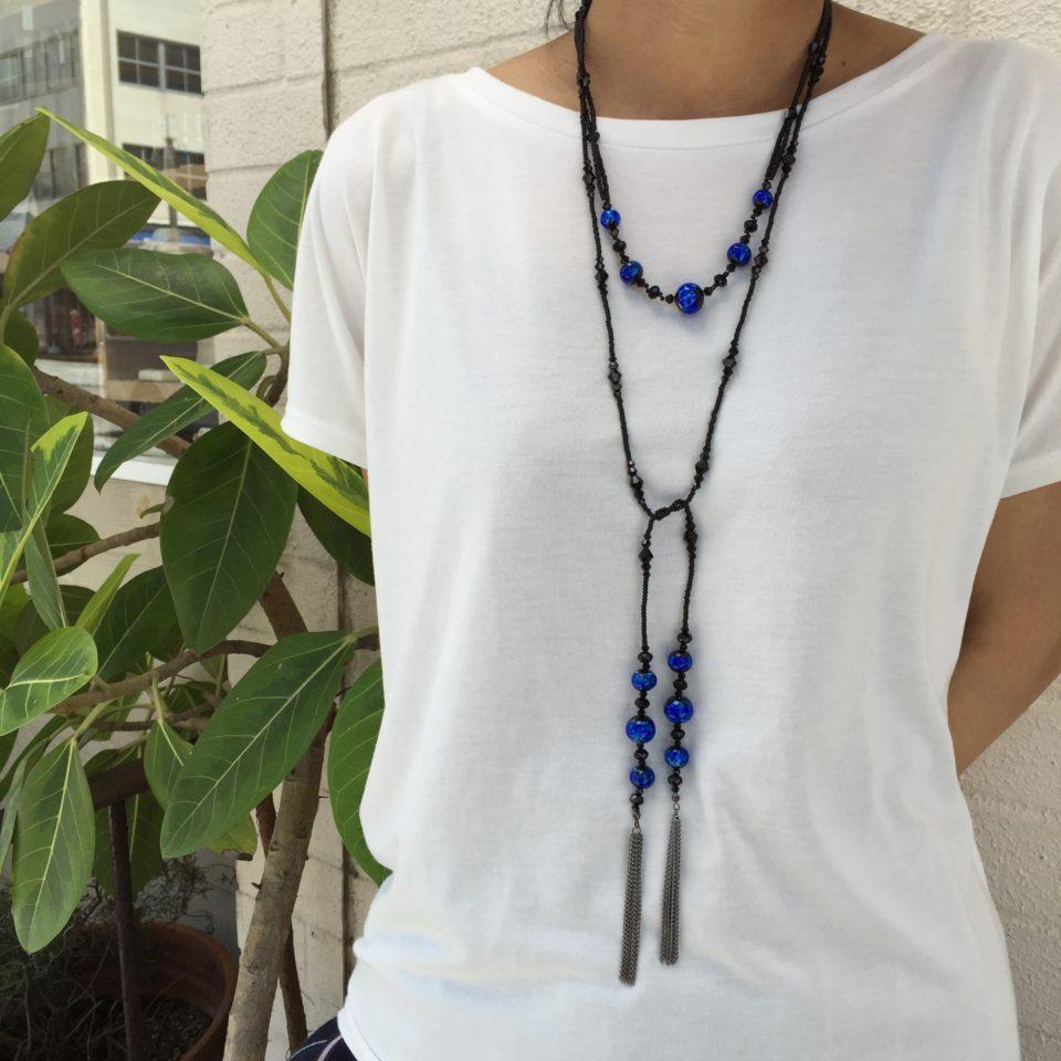 沖縄 観光 ホタルガラス ネックレス お土産 JEENAR JEENAR松尾 ロングネックレス