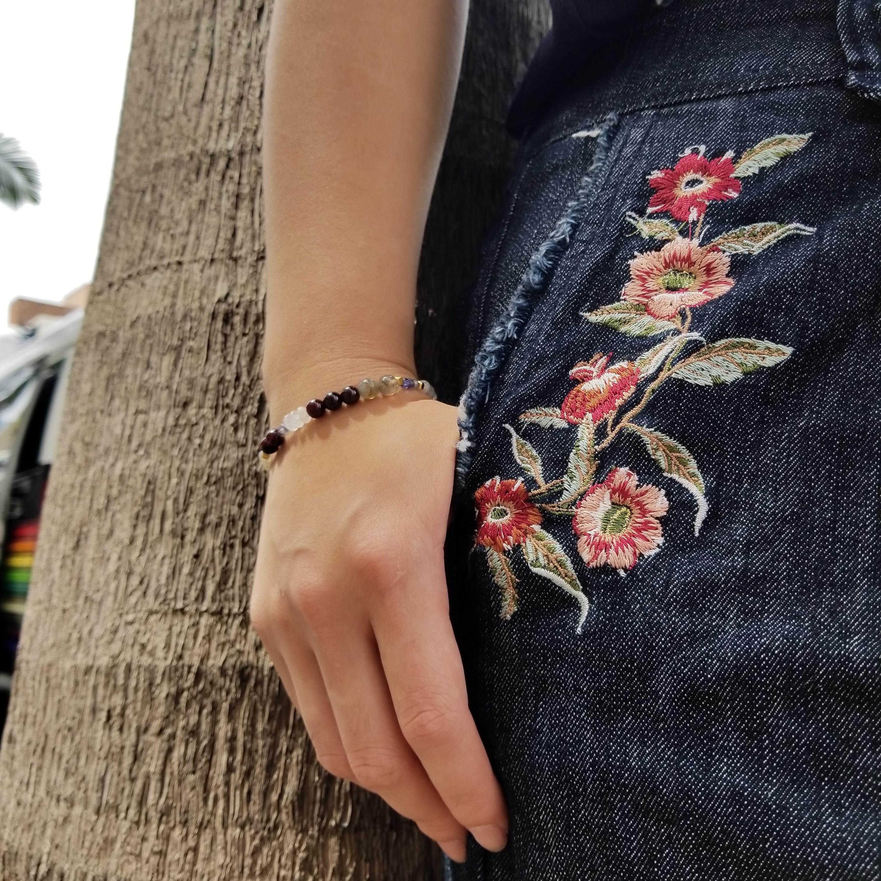 天然石ブレスレット ガーネット ブルームーンストーン ラブラドライト タンザナイト 刺繍デニム 国際通り