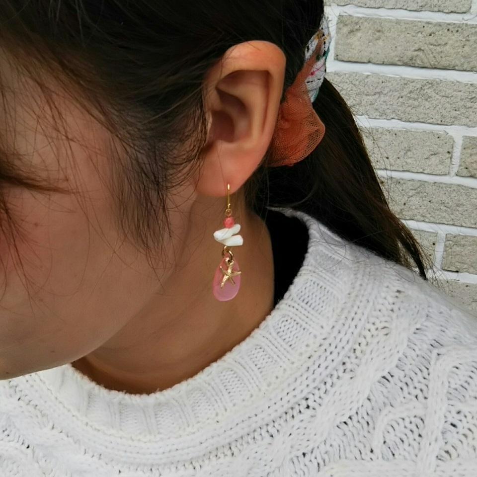 サンゴ 白枝さんご シェルピアス ヒトデ 桜色