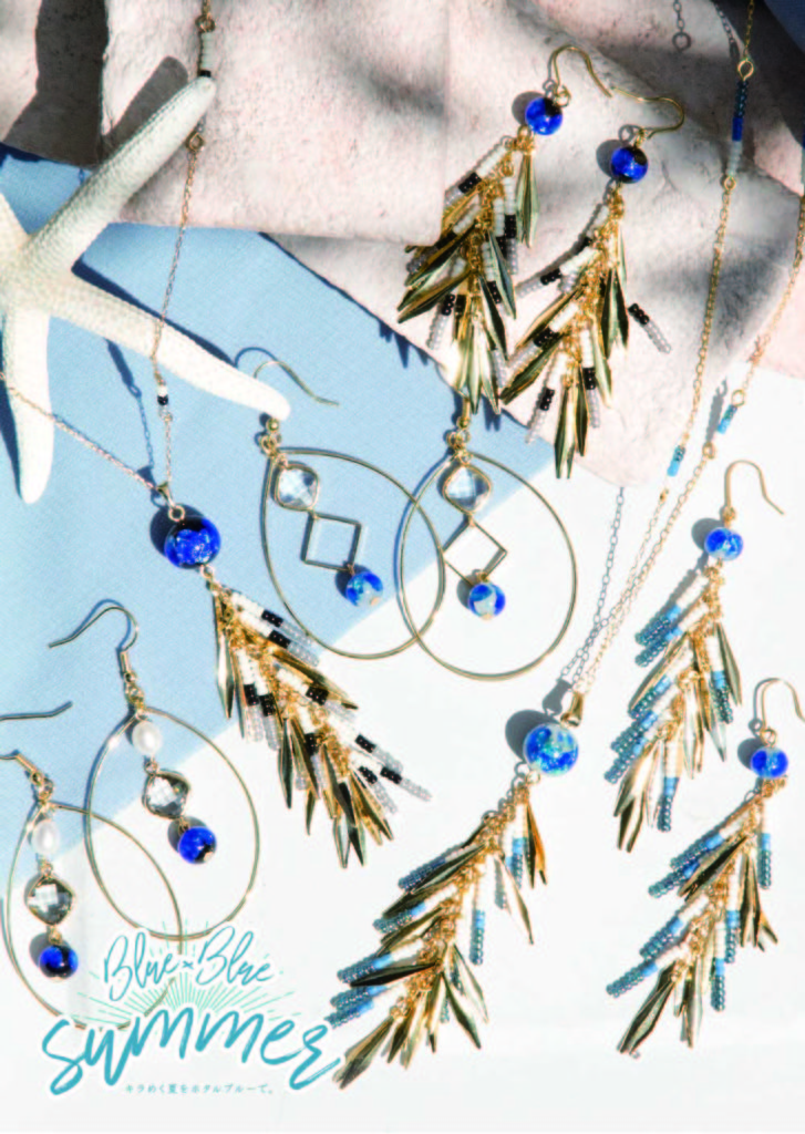 JEENAR 夏コレクション ホタルガラス 沖縄 新作 new ピアス ネックレス 夏 海 青 blue