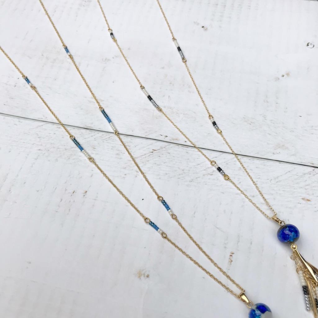 ハンドメイド 沖縄 ホタルガラスネックレス ホタルガラス ロングネックレス 沖縄土産
