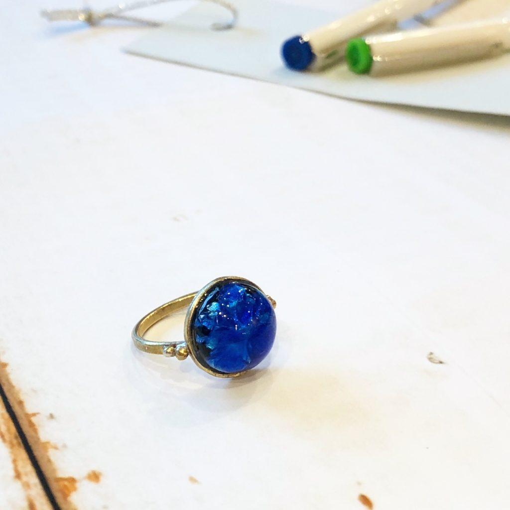 JEENAR ホタルガラス リング 沖縄 ハンドメイド アクセサリー 真鍮 d-y-w-f 七夕 星 プラネタリウム 短冊