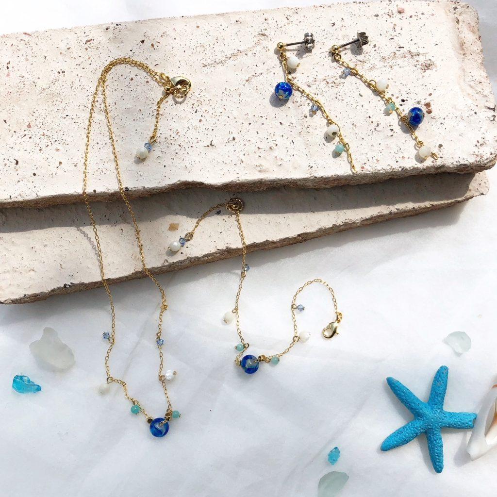 JEENAR 沖縄 ホタルガラス アクセサリー ハンドメイド 天然石 アマゾナイト シェル 夏 サマー 華奢 鎖骨 ネックレス