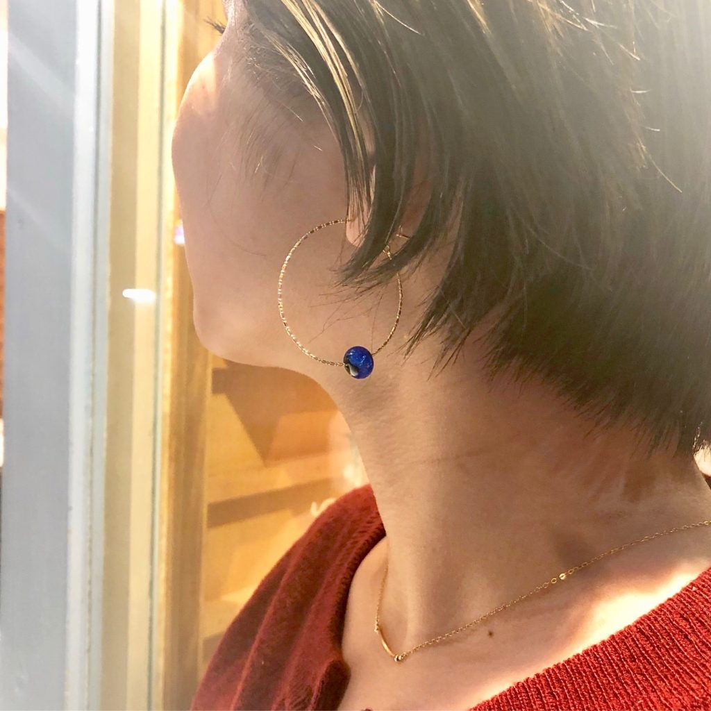 JEENAR 沖縄 ホタルガラス K18 18金 ピアス フープピアス 上質 クリスマス ギフト BOX付き
