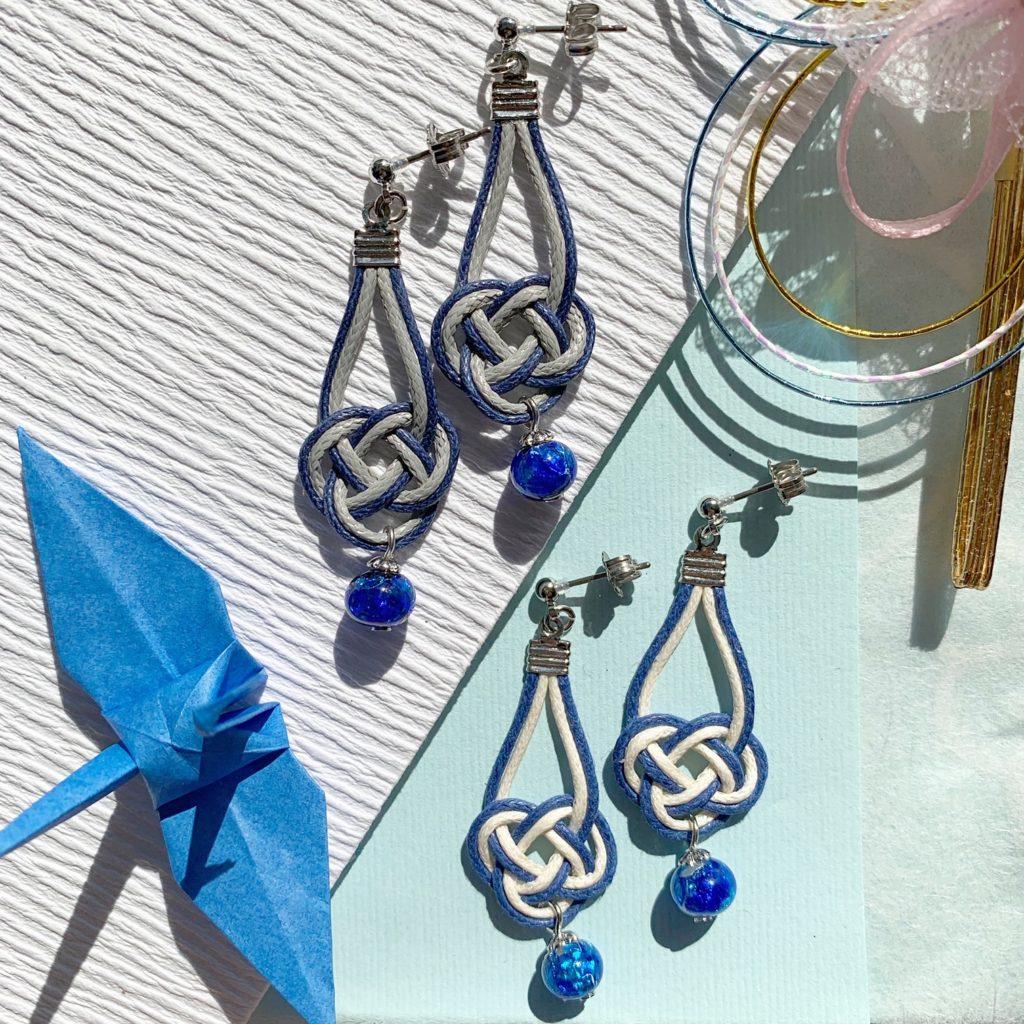 沖縄 ハンドメイド ハンドメイドアクセサリー 和 着物 成人式 伝統工芸 水引 水引ピアス ホタルガラス