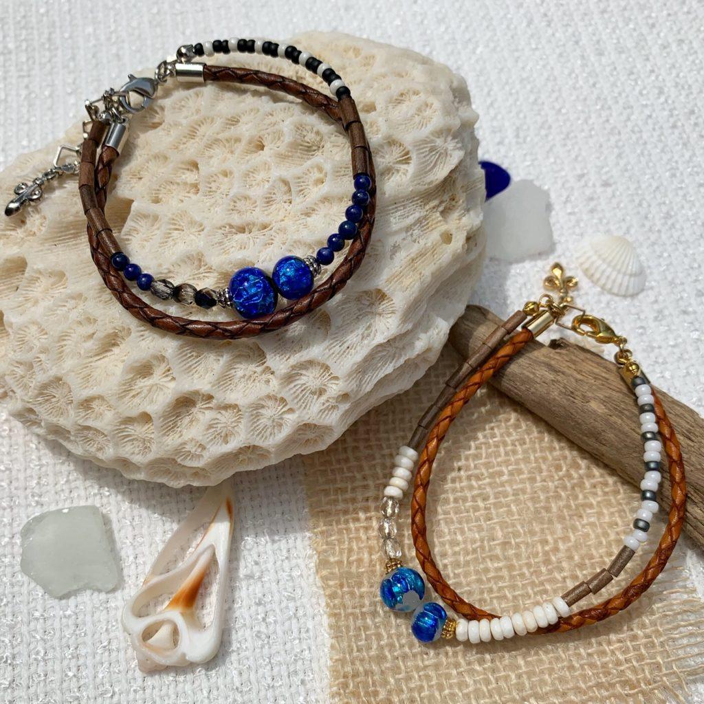 ホタルガラス2連ブレスレット,本革,ホタルガラス,ホワイトホタルガラス,夏,