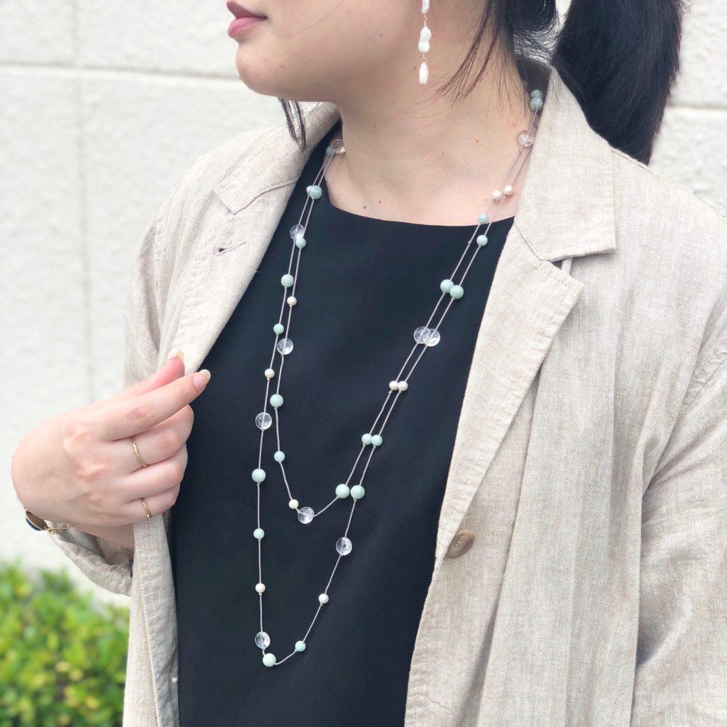 JEENAR 沖縄 ハンドメイド アクセサリー ネックレス ロングネックレス 天然石 ジェイド 翡翠 パール 水晶 シルクコード 着画 2連ネックレス