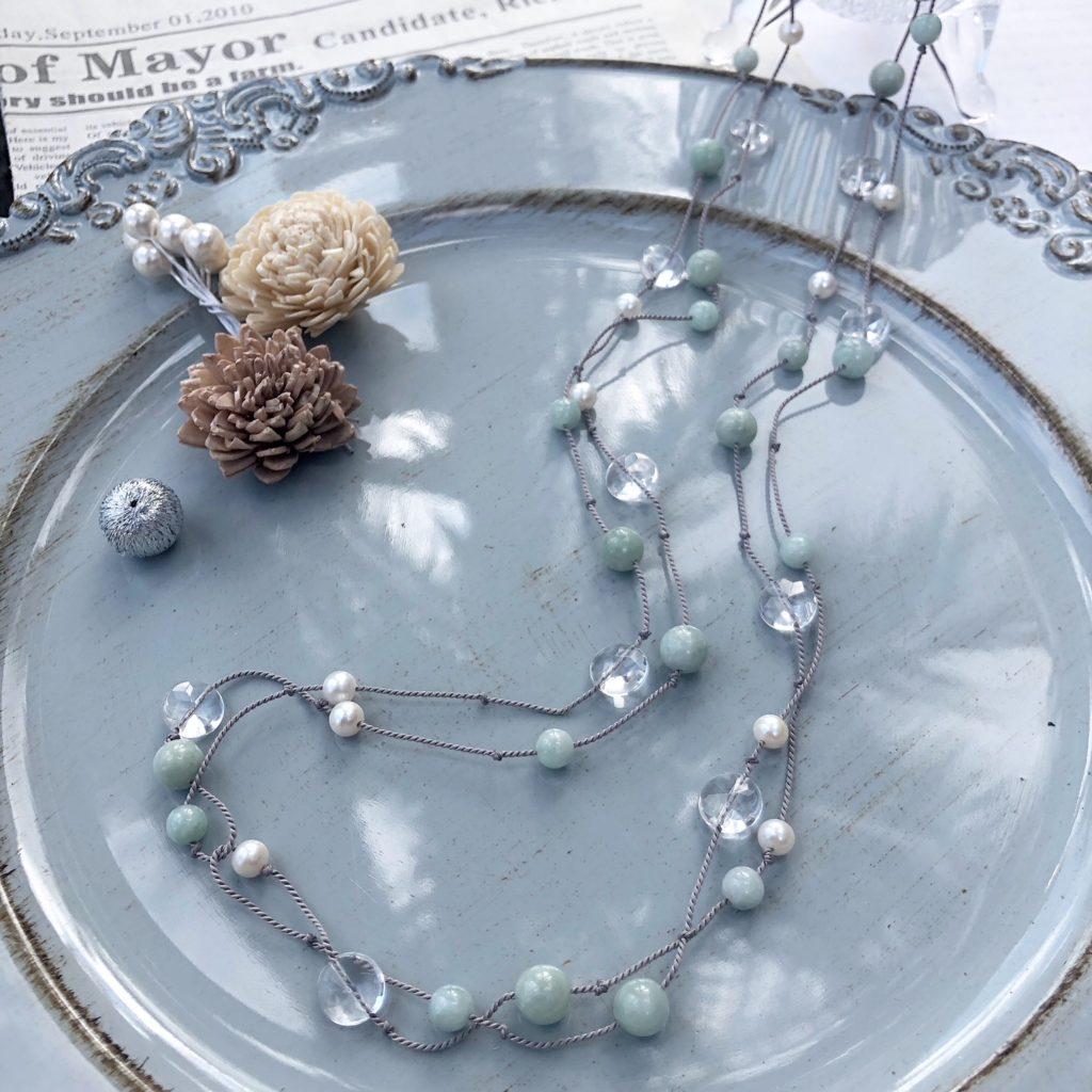JEENAR 沖縄 ハンドメイド アクセサリー ネックレス ロングネックレス 天然石 ジェイド 翡翠 パール 水晶 シルクコード
