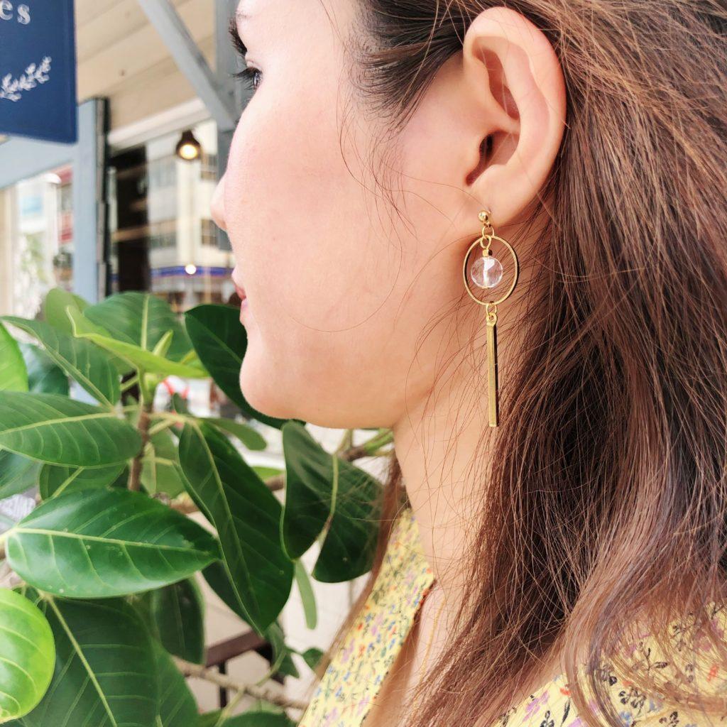 JEENAR ジーナ Handmade ハンドメイドアクセサリー 沖縄 ホタルガラス 夏 ピアス アシンメトリー 水晶 アマゾナイト 淡水パール