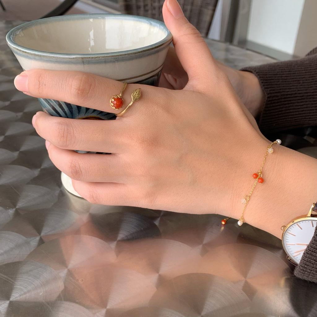 赤珊瑚 リング 指輪 ブレスレット 沖縄観光 国際通り ハンドメイド