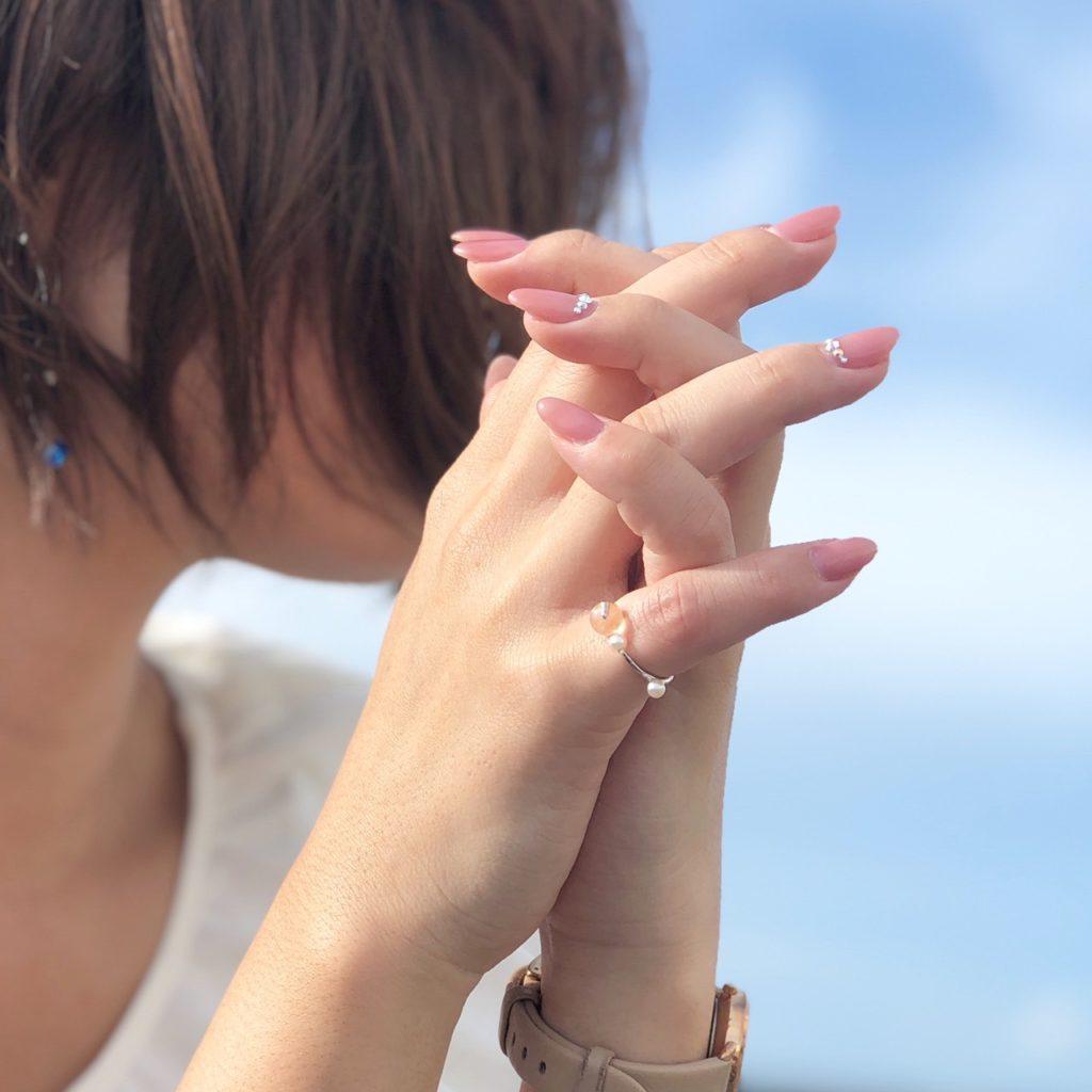 沖縄 沖縄観光 ハンドメイドアクセサリー 沖縄アクセサリー ピンキーリング 天然石リング ホタルガラス 夏アクセサリー 沖縄土産